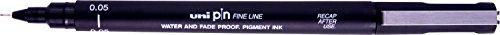 Uni - tiralíneas de punta fina (0,05 mm) resistente al agua y a las manchas, bolígrafo de punta fina; color negro.