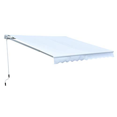 Outsunny Toldo Manual Plegable de Aluminio Ángulo Ajustable con Manivela para Exterior Balcón Jardín Terraza 2.95x2.5m Blanco