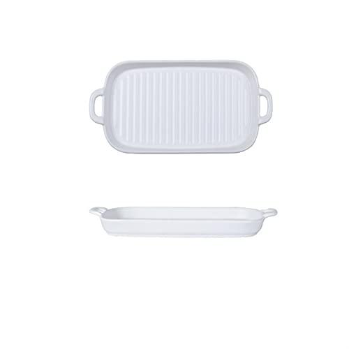 Placa de horno binaural rectangular Placa de cerámica Placa de comida occidental Desayuno Placa plana Placa de microondas Placa para hornear (Color : White)
