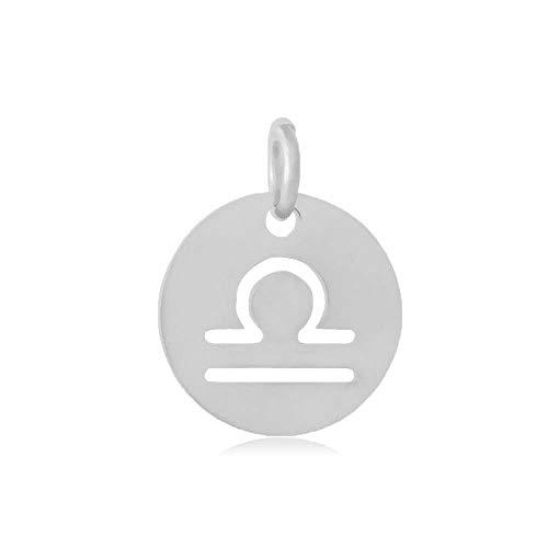 DanLingJewelry 10 stks 12 mm 304 RVS Platte Ronde Weegschaal Zodiakbord Bedels 12 Constellatie Hangers Kralen DIY voor Ketting Armband Sieraden Maken en Crafting Hole:3mm