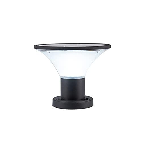 WRMING 5W LED Farolas Solar Exterior Jardin con Sensor Crepuscular Aluminio Lámpara de Jardín Poste IP65 Luces de Pedestal Lámpara de Exterior para Patios,Caminos,Negro,3000K/4000K/6000K,500lm