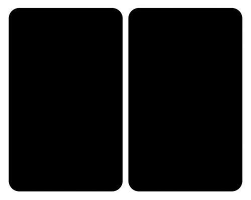 WENKO Placas cobertoras de vidrio universal negro, Cubierta de cocina, juego de 2 unidades, para todos los tipos de cocinas, Vidrio endurecido, 30 x 52 cm, Negro