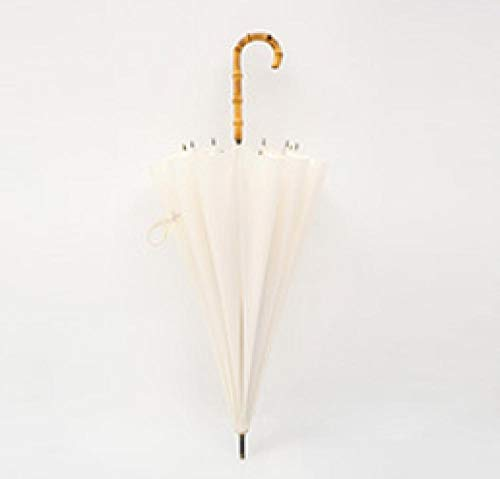 Paraplu Uitstekende Damesmodellen 16 Been Bamboe Handvat Paraplu Bamboe Festival Systeem Plain Paraplu [Rijstwit]