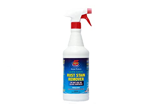 Force 5 SHIPN'SHORE, Rust Stain Remover, Instantly Remove Rust Stains, Hard Water Stains from Wall, Fences and Concrete, Sprinkler Hard Water Stains. FAST ACTING! ODOR FREE! BIODEGRADABLE! Great On Fiberglass Boat Hulls. (1 quart)