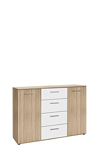 Sideboard Gold Star, 129,6x38x91,3 cm, with 2 cabinets and 4 Drawers,