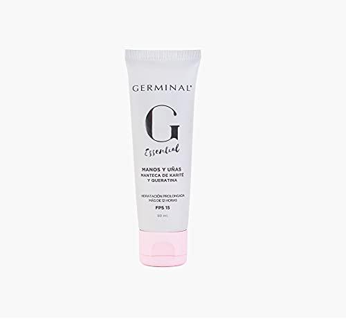 Germinal Essential - Crema Manos y Uñas con Vitamina E, Manteca de Karité y Queratina, Hidratación Intensiva con Textura No Grasa - 50 ml