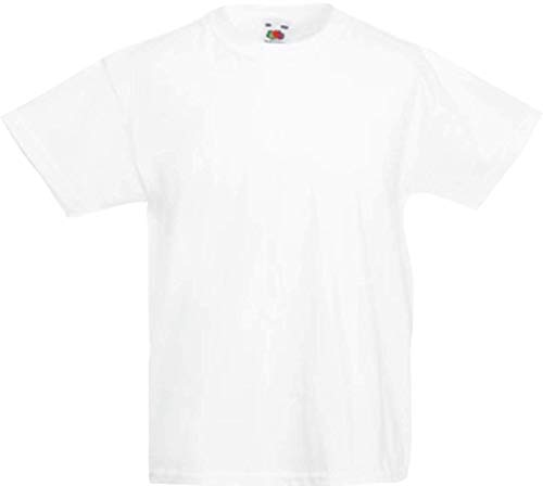 Shirtinstyle Kinder-Shirt Basic Uni Fruit of The Loom, Farbe Weiss, Größe 128