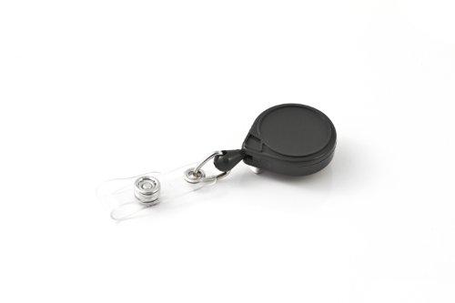 Key-Bak Mini-Bak Emoji Retractable Reel with 36-Inch Nylon Cord, Steel Belt Clip and Vinyl ID Strap (Plain, Black)