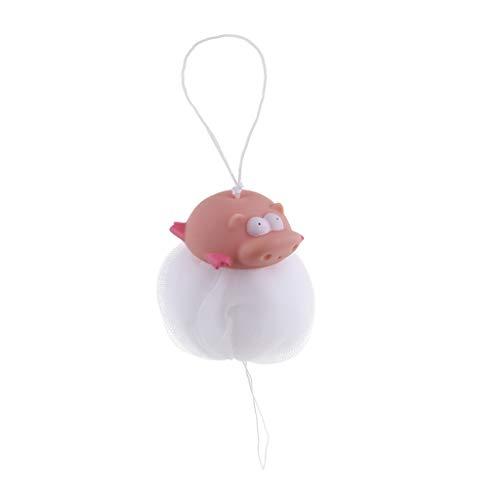 Kinder Weich Badeschwamm Duschschwamm Mit Kordel Massageschwamm Badeknäuel für Dusche - Rosa Schwein