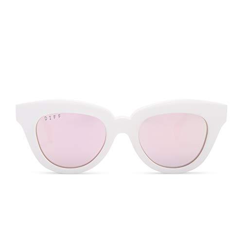 DIFF Eyewear - Jagger - Designer Cat Eye Sunglasses for Women - 100% UVA/UVB, White + Lavender Flash