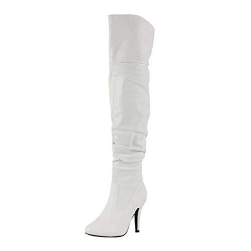 Forever Link Women's Over Knee High Sexy Boots-33,White,6.5