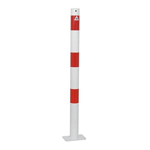 Absperrpfosten Ø 60 mm ortsfest mit Bodenplatte 100 x 150 mm für Dübelbefestigung, mit 1 Öse
