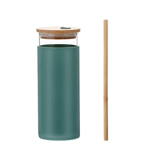 Homoyoyo Vaso de Vidrio con Paja Vaso de Agua Vaso de Silicona Tapa de Bambú Bebida Café Botella de Boca Ancha Botella Verde Oscuro