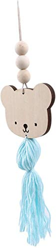 ZCYY Pendant Wall Decoration, Cute Panda Shape Wooden Beads Tassel Hanging Pendant Decor Wall Hanging Ornament Grey
