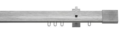 tilldekor Innenlaufsystem Gardinenstange Inline, kantig, Aluminium, 160 cm, 1-Lauf, Edelstahl-gebürstet