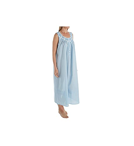 Eileen West Poetic Lawn Ballet Woven Nightgown, L, Solid Blue (Large)