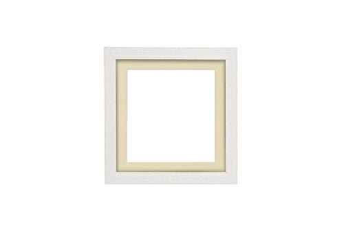 Instagram Quadrat weiß Distressed-Rahmen mit Elfenbein Passepartout 3D Deep Box Bilderrahmen | Plakatrahmen mit MDF-SichernTafel mit Plexiglas Blatte - 40,6 x 40,6 cm für 35,6 x 35,6 cm Bilder