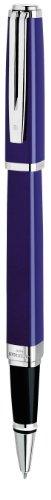 Waterman Exception Penna Roller Sottile, Punta Media con Cartuccia di Inchiostro Nero, Blu con Clip Placcata in Argento, Confezione Regalo