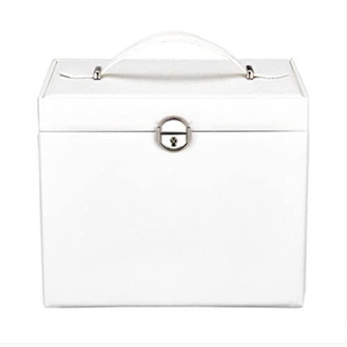 QIFFIY Caja de joyería Negra 26.5 * 19.8 * 23 cm, Caja de Almacenamiento de Joyas de Cuero de la joyería de Cuero de Las señoras con Cerradura de Llave Espejo y una Caja pequeña (Color : White)