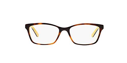 Ralph by Ralph Lauren Women's RA7044 Cat Eye Prescription Eyewear Frames, Shiny Havana On White/Yellow/Demo Lens, 52 mm