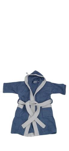 DataPrice Albornoz para Niño/Niña FOGRUM, Bata Infantil Unisex 100% Algodón - Color Azul y Blanco (2-4 Años)