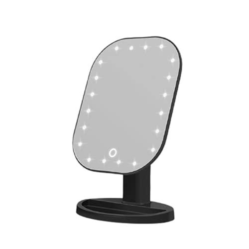Espejo de Maquillaje Escritorio 20 LED Rotación 180 Grados ABS Vidrio Luz Natural Almacenamiento Base USB y Batería para Casa,Black