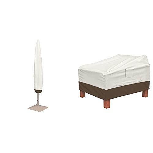 Amazon Basics Lot de 2 Housses pour fauteuils Lounge à Assise Profonde & Housse de Protection pour Parasol