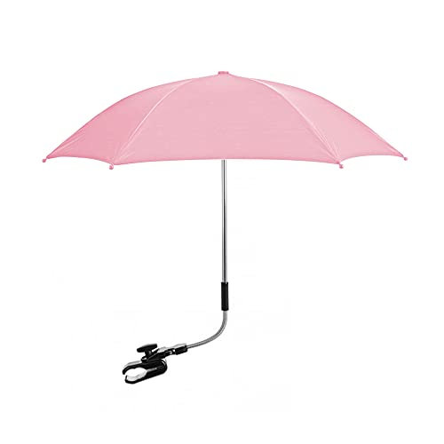 Pram Parasol – Pink Colour – Hands Free Design – Safe Locked Tips with Wire – Foldable & Compact – Keep Your Baby Safe in The Sun – Ideal for Summers & Rains