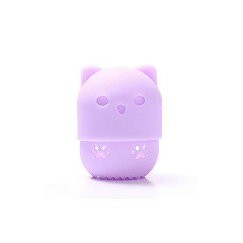 Beauté éponge rack mélangeur houppette de silicone souple maquillage oeuf sec mélangeur cosmétique portable le porte-boîte à éponge,Purple