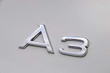FlekShop - Emblema OEM cromato, in ABS, per Audi A3, logo 3D per bagagliaio, stemma decorativo