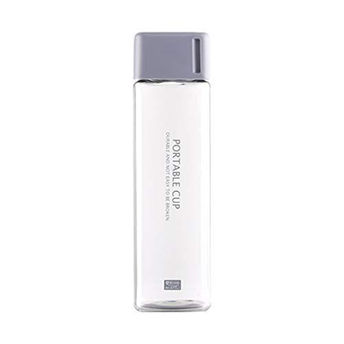 HRRH Botella de Agua Cuadrada de 480 ml, Taza de Mano de la Personalidad Creativa portátil Deportes Caldera a Prueba de Fugas Botellas de plástico irrompibles,Gray