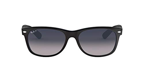 Ray-Ban RB2132 New Wayfarer anteojos de sol polarizadas, Black/Polarized Blue/Grey Gradient, 55 mm