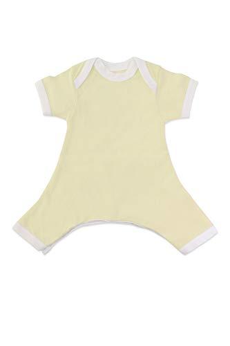 Hip-Pose Baby-Strampler/Strampelanzug mit kurzen Ärmeln für Spreizhose und Gipshosen für Neugeborene 0-3 Monate, gelb