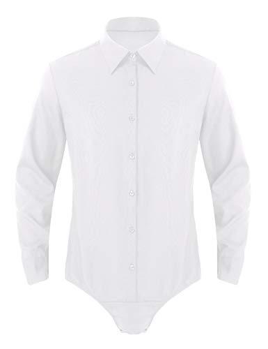 MSemis Herren Body Langzarm Hemdbody mit Druckknöpfe im Schritt Kentkragen Hemd Herren Baumwolle Bodysuit Overall Einteiler Weiß L