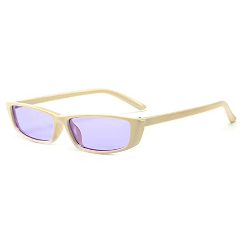 Gafas de Sol rectangulares Retro para Mujer Gafas de Sol de Montura pequeña Gafas Negras Retro Gafas de Sol estrechas extrañas UV400