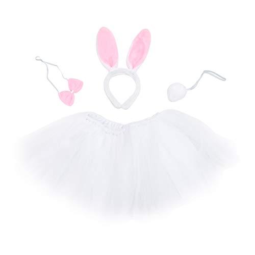 BESTOYARD Ostern Tag Kostüm Blase Rock Kaninchen Ohren Stirnband Fliege Kleidung Set Bunny Gaze Prinzessin Kleid Party Kostüm Anzug für Kinder Kinder
