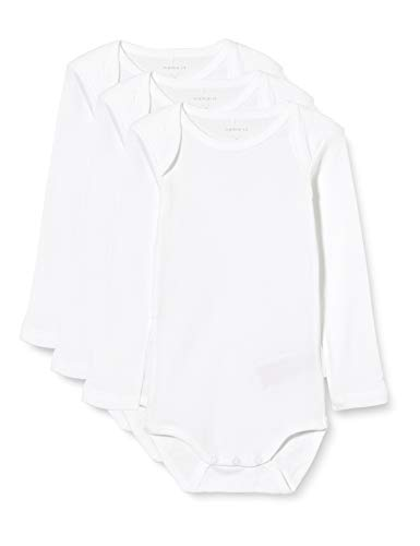 NAME IT Unisex Baby Strampler NBNBODY 3P LS SOLID NOOS, 3er Pack, Weiß (Weiß Bright White), 80
