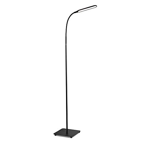 TaoTronics TT-DL072 LED Floor Lamp, Modern Standing Brightness Levels & 4 Colors Dimmable Adjustable Gooseneck Task Lighting for Living Bedroom Reading Piano Room, Black