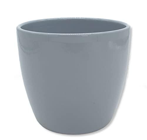 DARO DEKO Blumen-Topf rund Keramik Übertopf Ø 17 x 15cm grau