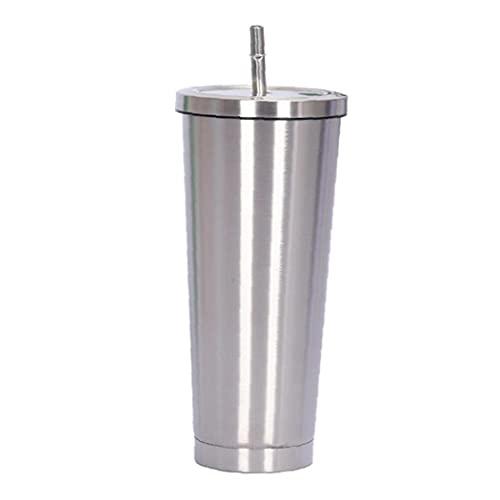 Taza del acero inoxidable de vacío botella con material aislante 500Ml Copa Agua Café Cupwith paja a prueba de fugas tapa Para el hogar Plata, Copa de paja
