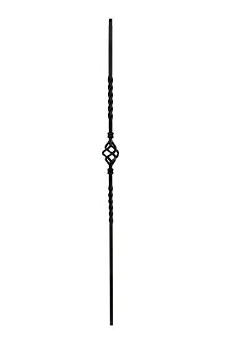 T04 - Iron Balusters - Single Basket - Hollow - 44 in X 1/2 in Square - Box of 10 (Satin Black)