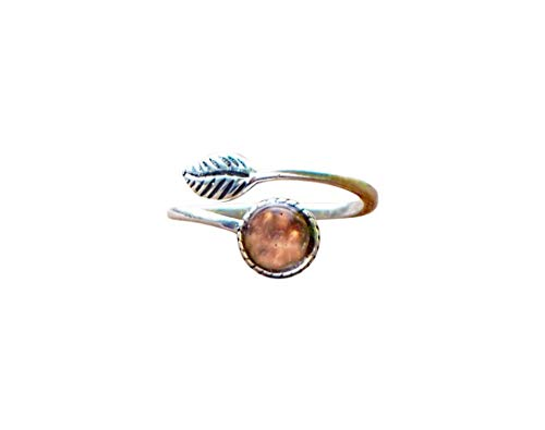 Recycled Antique Pink Depression Glass Sterling Silver Leaf Ring