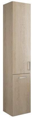 Burgbad Eqio hoge kast met 1 deur en 1 wasmand, deurscharnieren links, breedte: 350 mm, Kleur (voorzijde/karkas): Eikenhouten decor kasjmier / Eikenhouten decor kasjmier, staafgreep chroom P95 - HSFC035LF3180P95