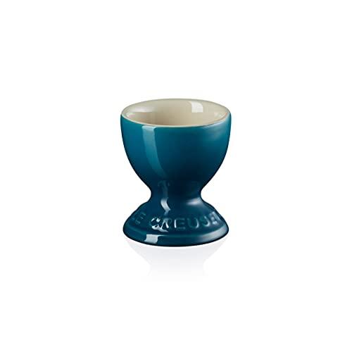 Le Creuset Huevera de cerámica de gres, 9 g, 5.3 x 5.3 x 5.9 cm, Deep Teal