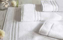 OGDREAMS Juego de toallas de algodón, 2 toallas de baño, 2 toallas de mano, 2 toallas de bidé y 2 alfombrillas de baño, 100% algodón, blancas