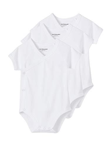 VERTBAUDET Lote de 3 Bodies Blancos de Manga Corta Colección Bio bebé recién Nacido Blanco 3M - 60CM