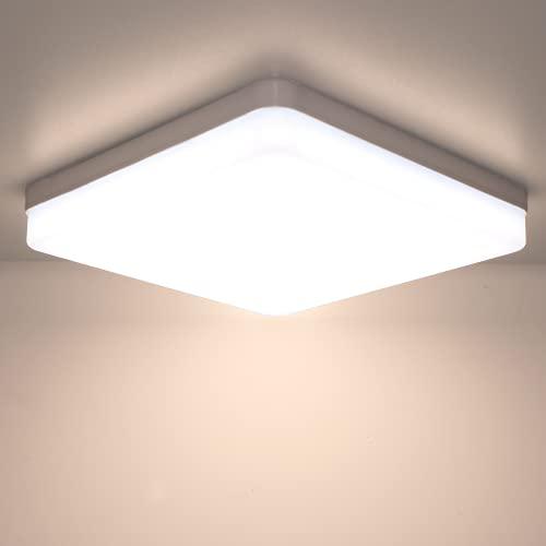 Kimjo LED Lámpara de Techo 36W, Plafón LED Cuadrado IP44 Impermeable para Baño, Plafón LED Techo Blanco Cálido 3000K Moderna Delgada para Dormitorio Sala de Estar Cocina Balcón Pasillo Oficina