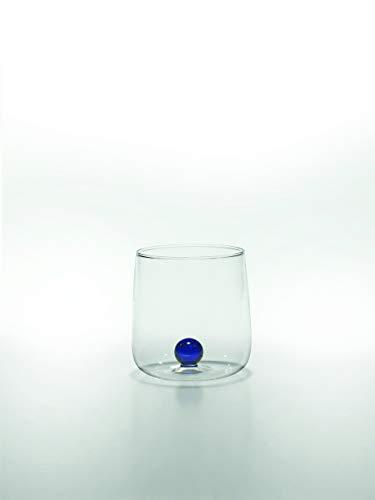 Zafferano Bilia Glasbecher - Handgemachtes Transparent Glas, Verziert mit bunter Glaskugel im Inneren, cl 44 h 90mm d 88mm - Set 6 Stück - blau