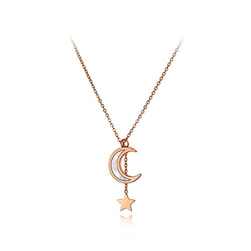 QDGERWGY Collares con Colgante de Estrella de Concha Blanca de Acero Inoxidable de Moda, Collar de Gargantilla de Cadena y eslabones de Oro Rosa para Mujeres y niñas