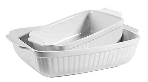 MÄSER 931982 Kitchen Time - Juego de 2 fuentes de horno rectangulares (33 x 24 x 8 cm, cerámica, 25,5 x 16 x 7 cm), color blanco
